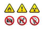 Warning Hazard and Prohibited Signs set vector — Stock Vector