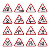 Set of three-dimensional Warning Hazard Signs — Stock vektor