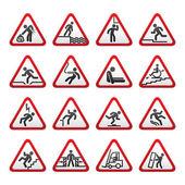 Set of three-dimensional Warning Hazard Signs — Stock Vector