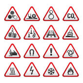 Set Simple of Triangular Warning Hazard Signs — Stock Vector