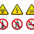 Warning Hazard and Prohibited Signs vector set — Stock Vector