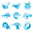 Splashing Waves and Water, vector - Stock Vector
