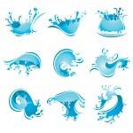 Splashing Waves and Water, vector — Stock Vector #5460045