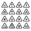 Stock Vector: Set of Triangular Warning Hazard Signs black