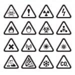 Set of Triangular Warning Hazard Signs black — Stock Vector