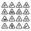 Set Simple of Triangular Warning Hazard Signs black — Stock Vector