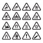 Set Simple of Triangular Warning Hazard Signs black — Stock Vector #5485515