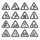 Set of Triangular Warning Hazard Signs black — Stock Vector