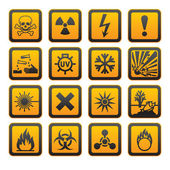 Hazard symbols orange vectors sign — Stok Vektör