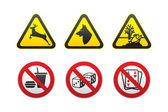 Warning Hazard and Prohibited symbols set vector — Stock Vector