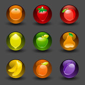 Buttons with fruit on a dark background with shadow — Stock Vector