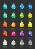 A set of colored drops with reflection on black background — Stock Vector