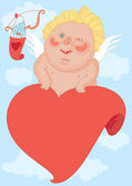 Cupid who winks — Stock Vector