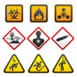 Warning symbols - Hazard Signs-Second set — Stock Vector