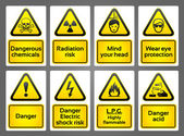 Warning Signs labes — Stock Vector