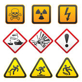 Warning symbols - Hazard Signs-First set — Stock Vector