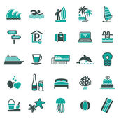 Signs. Vacation, Travel & Recreation. Third set icons — Stok Vektör