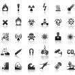 Black symbols danger icons — 图库矢量图片