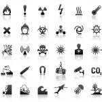 svarta symboler fara ikoner — Stockvektor