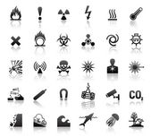 Black symbols danger icons — Vector de stock