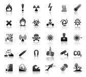 Iconos de peligro símbolos negro — Vector de stock