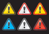 Set Hazard warning attention sign color on a black background — Stock Vector
