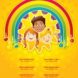 Royalty-Free Stock Vector Image: Three happy children in a rainbow and the sun - template