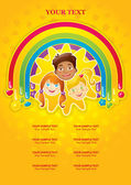 Three happy children in a rainbow and the sun - template — Stock Vector
