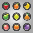 Fruits button black, web 2.0 icons — Stock Vector