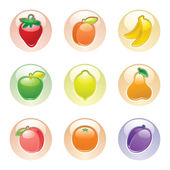 Fruits button gray, web 2.0 icons — Stock Vector