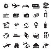Signs. Vacation, Travel & Recreation. First set icons in black — Stok Vektör
