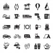 Signs. Vacation, Travel & Recreation. Second set icons in black — Stock Vector