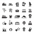 Signs. Vacation, Travel & Recreation. Third set icons in black - Stock Vector