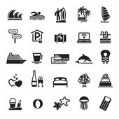 Signs. Vacation, Travel & Recreation. Third set icons in black — Stock Vector
