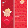 Stock Vector: Cupid with letter, Invitation, template, Valentine`s day postcard