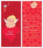 Cupid with a letter, Invitation, template, Valentine`s day postcard — Stock Vector