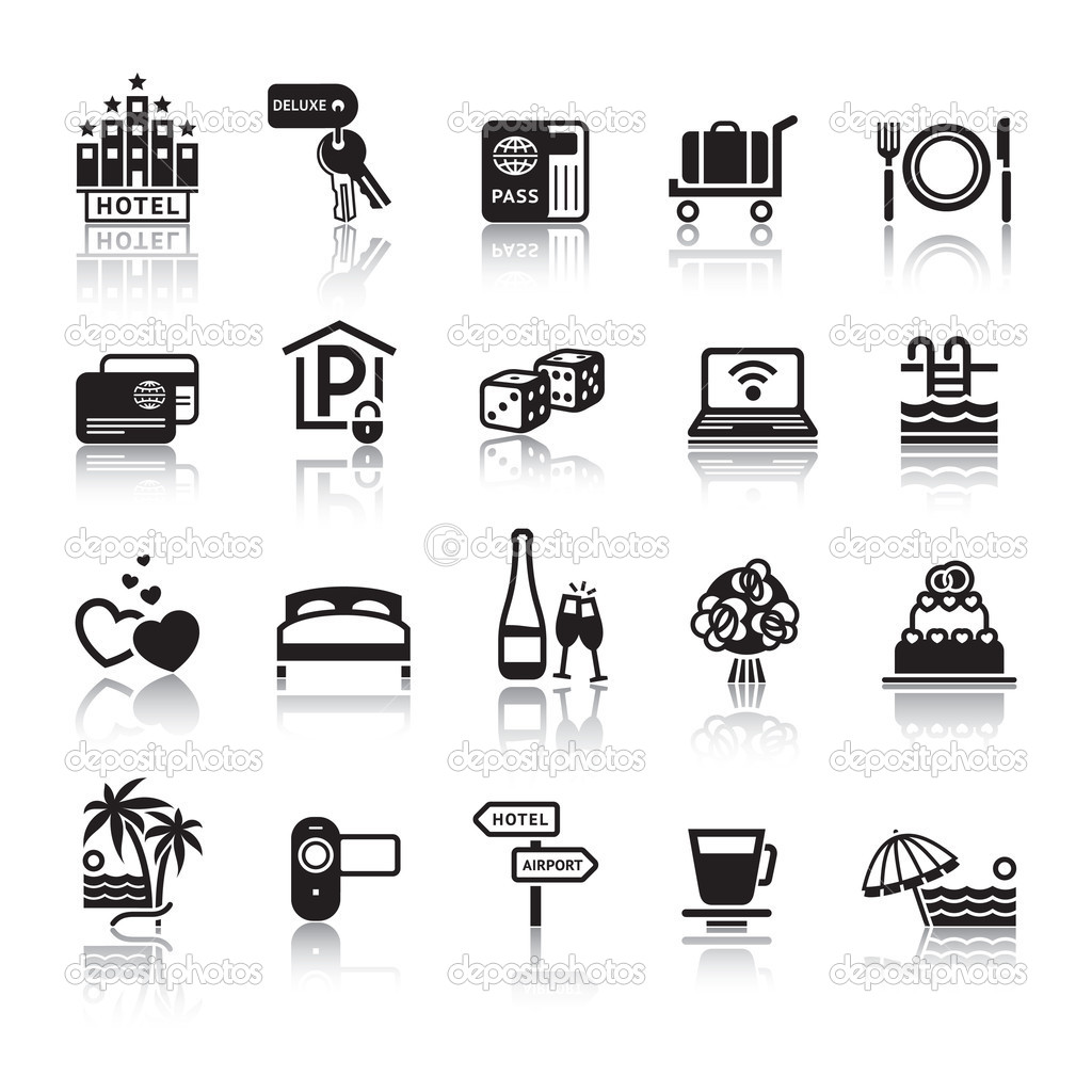 Signs. Tourism. Travel. Sports. Third set black icons with reflection — Stock Vector #5871309