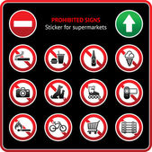 Prohibited Signs. Sticky label for supermarkets — Stockvektor