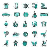 Signs. Vacation, Travel & Recreation. Third set icons — Stockvektor
