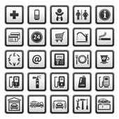 Signs set car services. Symbols Roadside services. Gas station. — Stock Vector