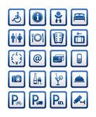 Symbols hotel services. Signs set motel services — Stock Vector