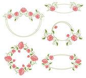 Floral ornaments vignette and frames, color — Stockvektor