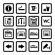 Постер, плакат: Set pictograms Car services Gas station Symbols Roadside services Black