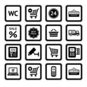 Set symbols supermarket services, Shopping Icons. Black — Vector de stock