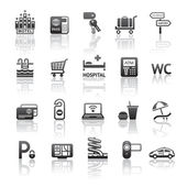 Icons set motel services. Pictograms hotel services. Gray reflection — Vector de stock