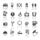 Pictograms hotel services. Icons set motel services. Gray reflection — Stock Vector