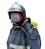 Portrait of a firefighter in breathing apparatus — Stock Photo