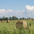 Wind Turbines and Hay Bales in Field — Stock Photo