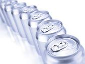 Gümüş soda kutular — Stok fotoğraf