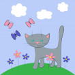 Royalty-Free Stock Vectorielle: Cat and buttarfly